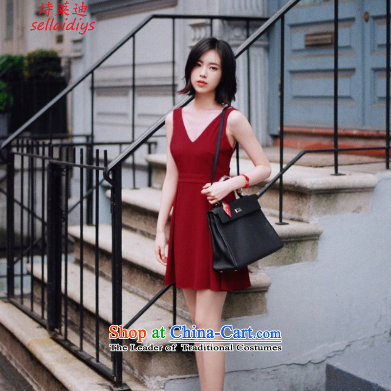 Ms Elsie Leung at 2015 Summer new strap and sexy back deep V-Neck Bow Tie dress dresses nightclubs replacing gift pack Magenta. M