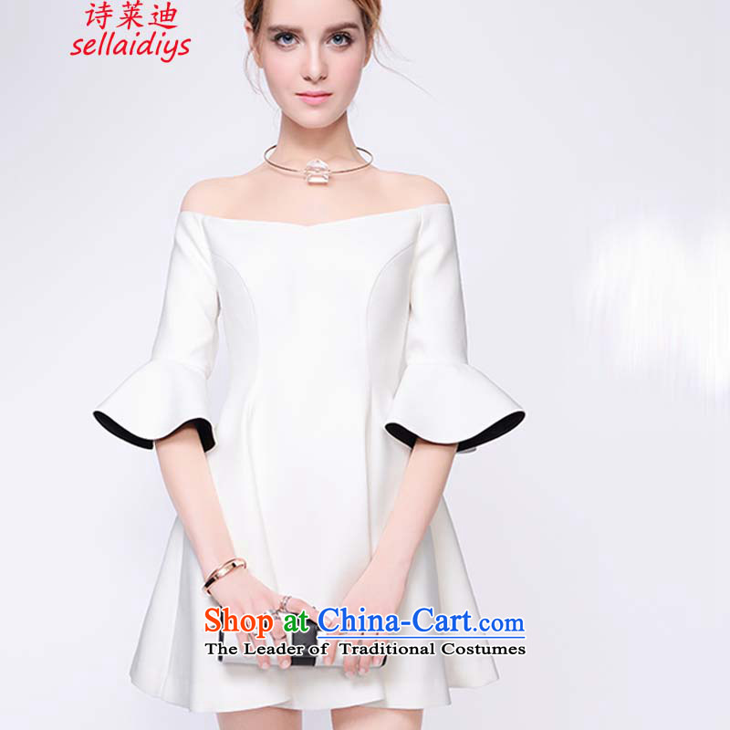 Ms Elsie Leung at the summer 2015 new products for the word European site bare shoulders the skirt the spring of Sau San Foutune of dress skirt White?M