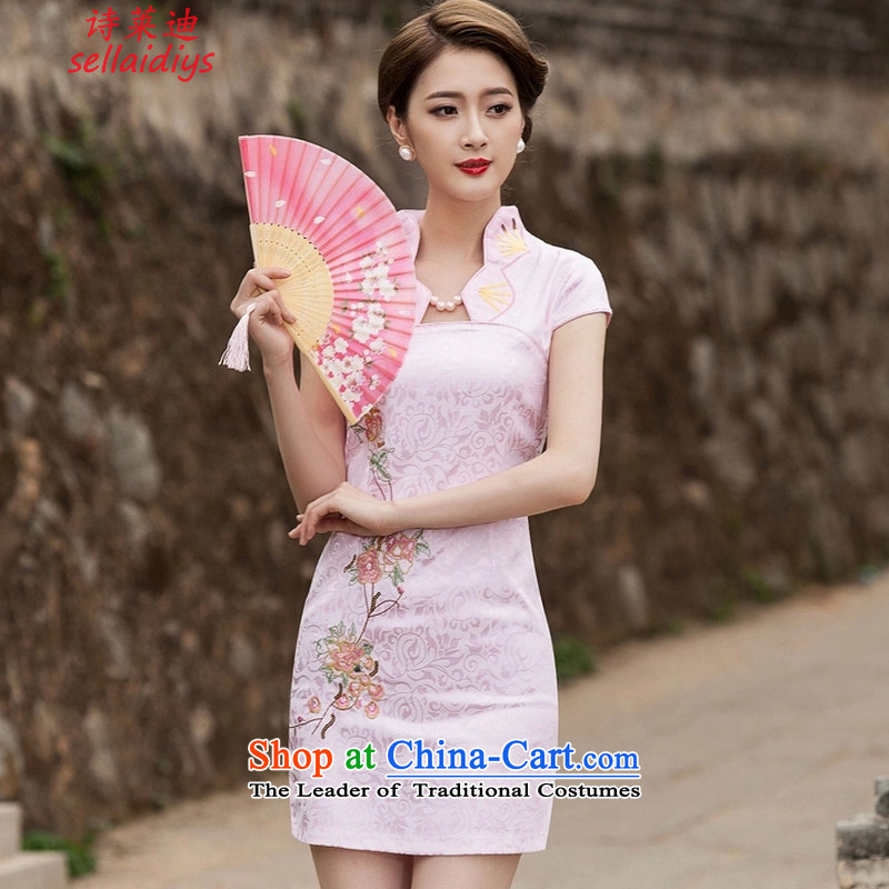 Ms Elsie Leung at the summer 2015 new summer stylish improved cheongsam dress daily video thin qipao gown of Sau San short pink?L