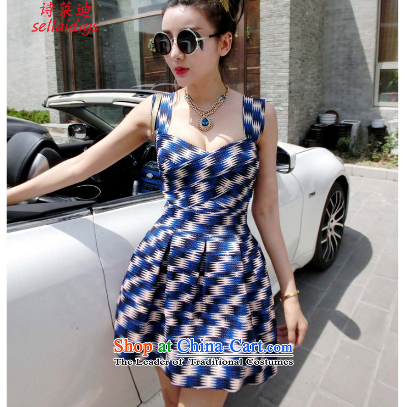 Ms Elsie Leung at the summer of 2015, the sense of Western big ELASTIC BANDAGES Foutune of Sau San straps bon bon dress even turning blue skirt are code