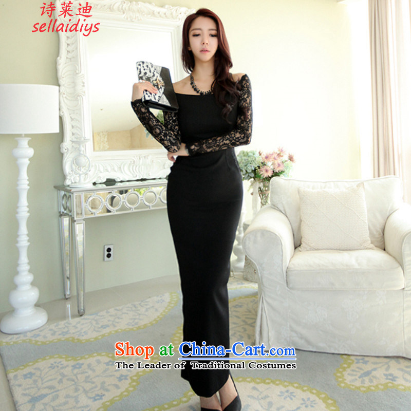 Ms Elsie Leung at the autumn and winter 2015 new Korean female sexy package and lace long-sleeved OL temperament dresses dress skirt black?L