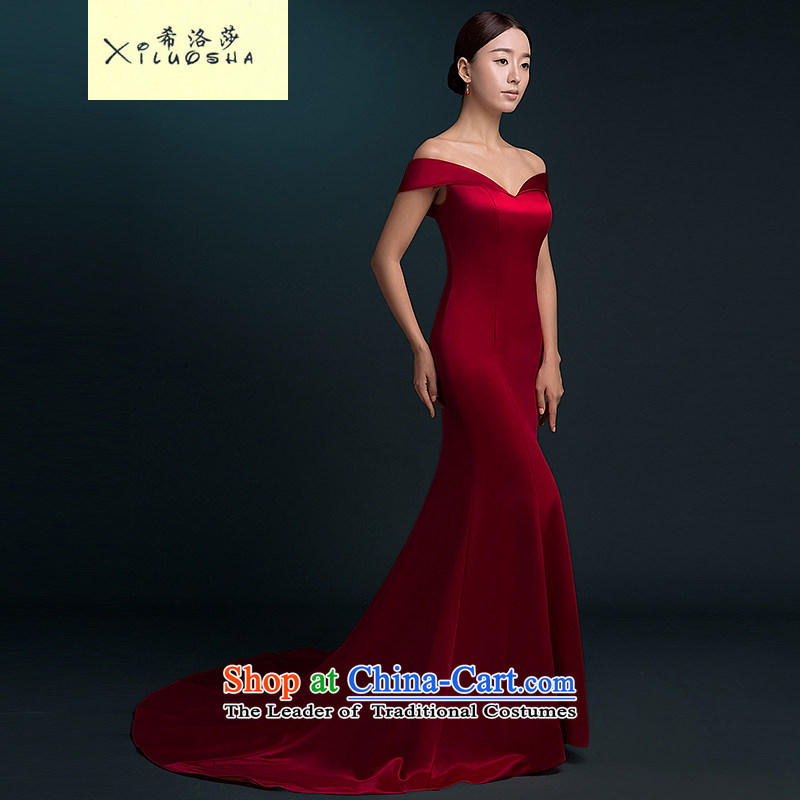 Hillo Lisa _XILUOSHA banquet evening dress_ long tail wedding dress a field shoulder satin dress custom bride toasting champagne crowsfoot services fall wine red聽XL
