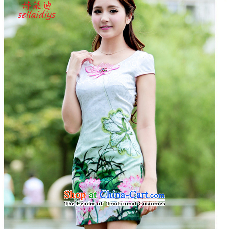 Ms Elsie Leung at the summer 2015 new stamp retro cheongsam dress lotus jacquard short-sleeved wedding dress Sau San improved cheongsam pink?XL