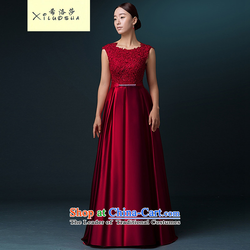 Hillo Lisa _XILUOSHA banquet evening dress_ long drink wine red dress wedding dress shoulders bride bows services 2015 new autumn wine red聽XL