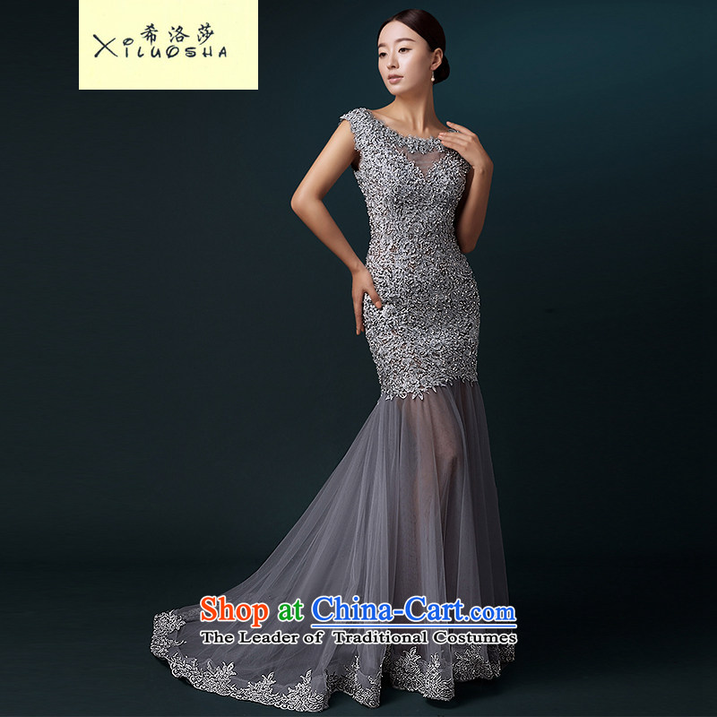 Hillo XILUOSHA Lisa _dress_ banquet 2015 new bride bows services crowsfoot wedding dress long Sau San HANGZHOU CHAISHI IMP shoulders Silver Gray?L