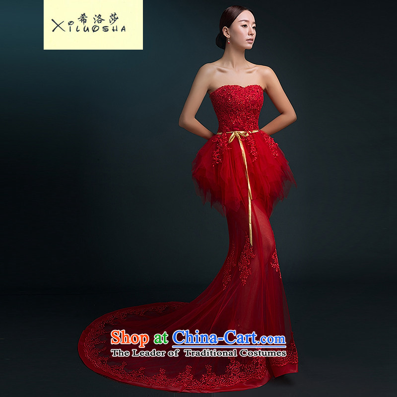 Hillo Lisa _XILUOSHA banquet evening dress_ long wedding dress and Chest Service bows tail bride new wedding dresses crowsfoot autumn red tail聽L