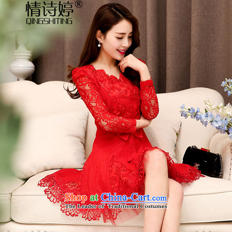 All?New 2015 Autumn Ting replacing stylish lace hook spend engraving ripple for long-sleeved wedding dresses large decorated in video thin female aristocratic temperament red?XXL