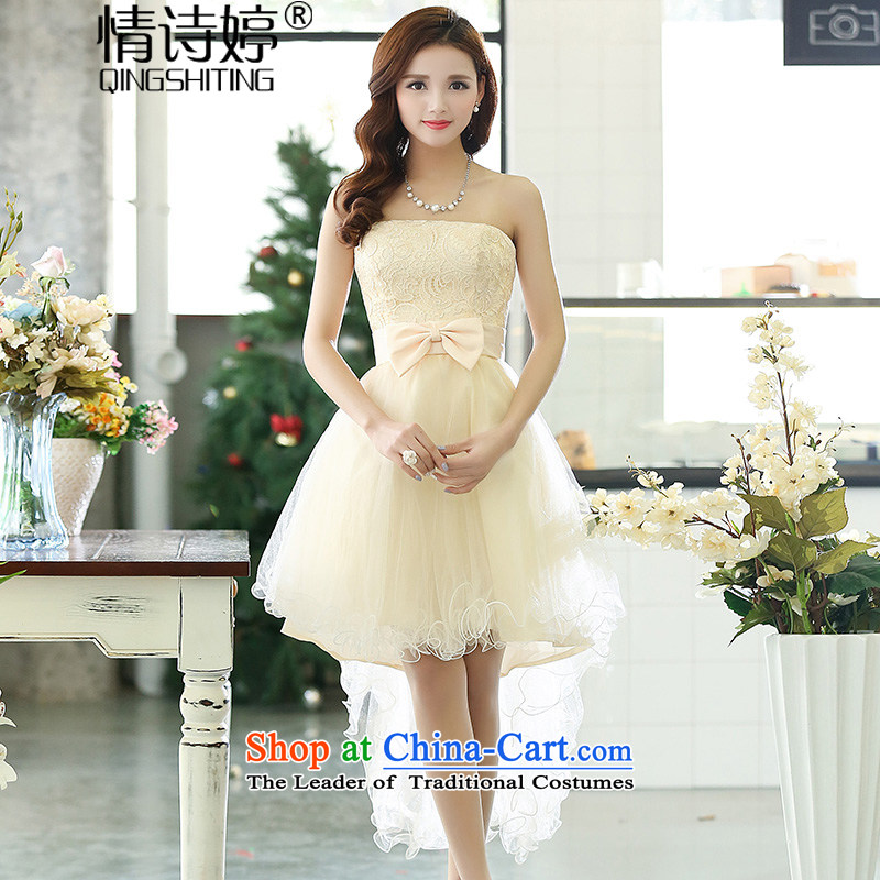 All?New 2015 Ting bride bridesmaid dress straps, wipe the chest princess bon bon short skirts bridesmaid marriage solemnisation evening dress short after former gown dresses female m White?L