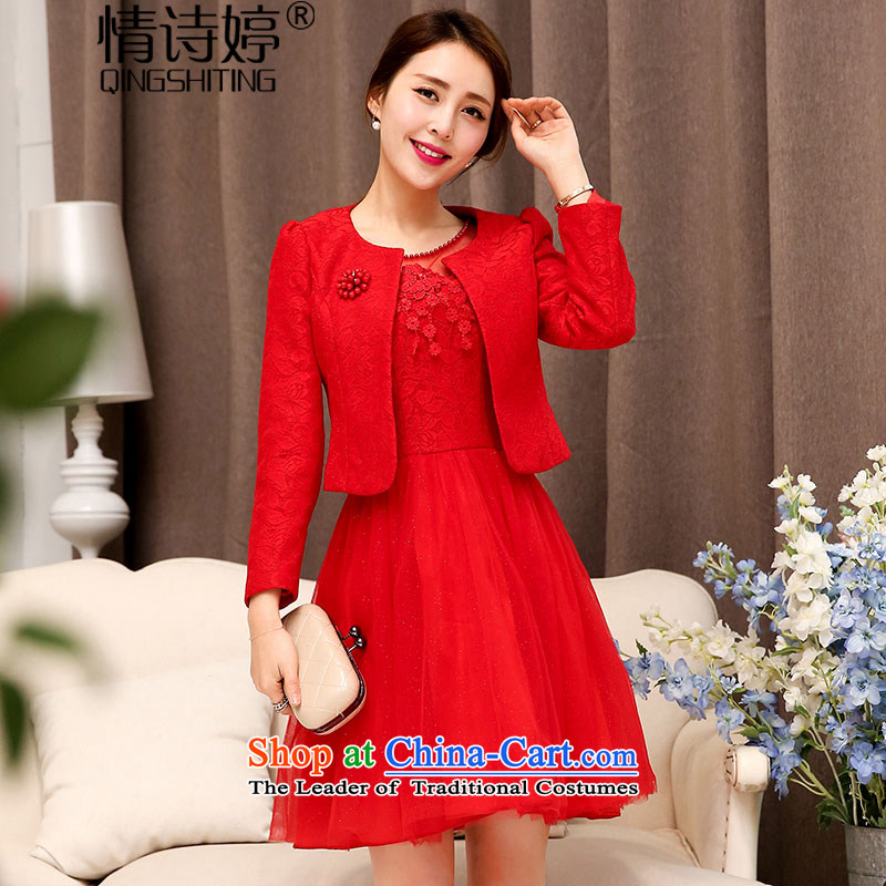 In the?autumn of 2015, of the poetry ting wedding-dress two kits stylish lace hook flower fluoroscopy half bon bon skirt + long-sleeved jacket round-neck collar Sau San video thin aristocratic temperament red?XL