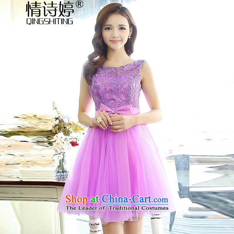 All New 2015 Ting bride bridesmaid dress straps, princess bon bon short skirts bridesmaid marriage solemnisation evening dresses lace the wedding dresses dresses female purple S