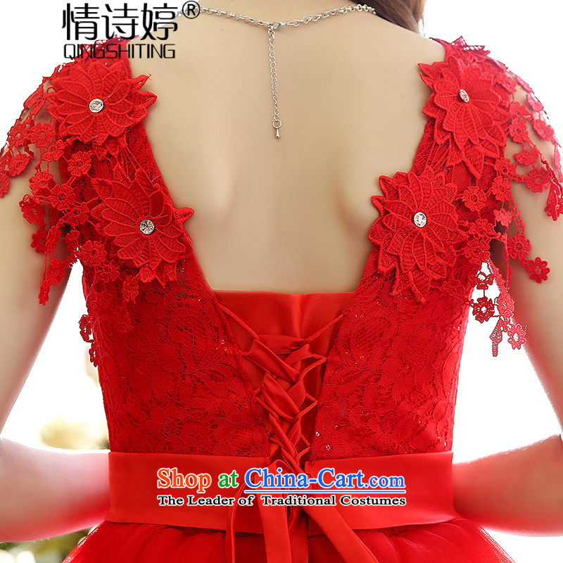 AllNew 2015 Ting bride bridesmaid dress straps, princess bon bon short skirts bridesmaid marriage solemnisation evening dresses lace the yarn stitching dress dresses female red, L, of poetry QINGSHITING Ting () , , , shopping on the Internet