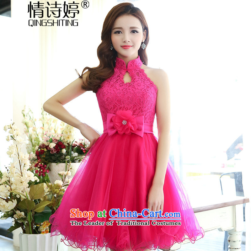 All New 2015 Autumn Ting mount must also shoulder straps, leakage princess bon bon short skirts bridesmaid marriage solemnisation evening dresses lace the yarn stitching dress the skirt of female red S