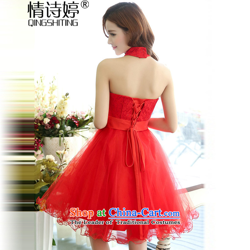 All聽New 2015 Autumn Ting mount must also shoulder straps, leakage princess bon bon short skirts bridesmaid marriage solemnisation evening dresses lace the yarn stitching dress dresses in red聽S of female poem QINGSHITING Ting () , , , shopping on the Internet