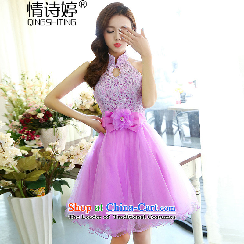 All New 2015 Autumn Ting mount must also shoulder straps, leakage princess bon bon short skirts bridesmaid marriage solemnisation evening dresses lace the yarn stitching dress dresses in red S of female poem QINGSHITING Ting () , , , shopping on the Internet
