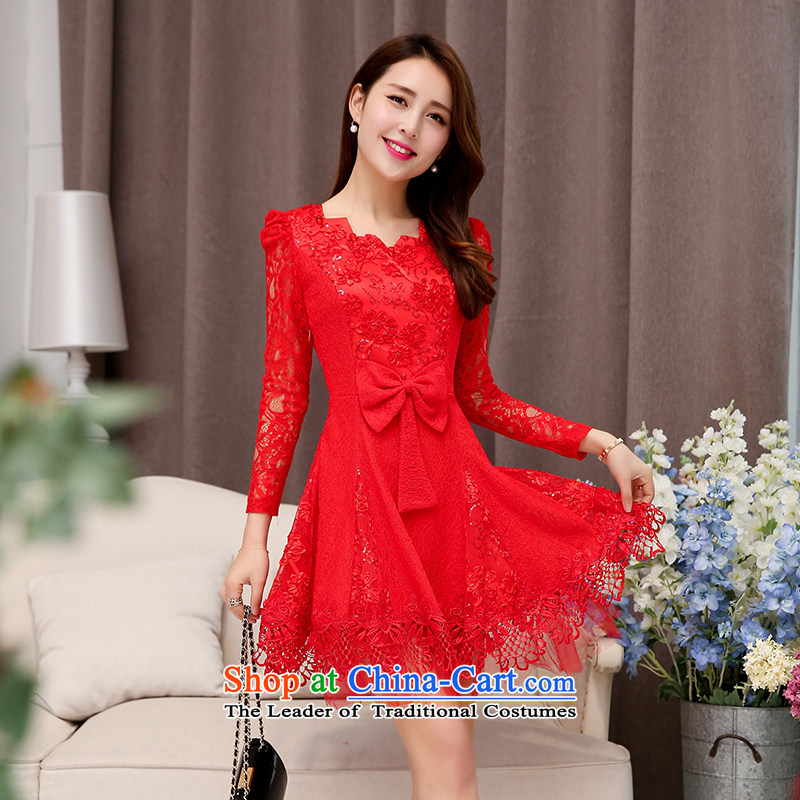 The OSCE to pull?oufulo new_ Autumn 2015 elegance lace round-neck collar Bow Tie Foutune of engraving Sau San dresses dress trendy new Magenta?XL