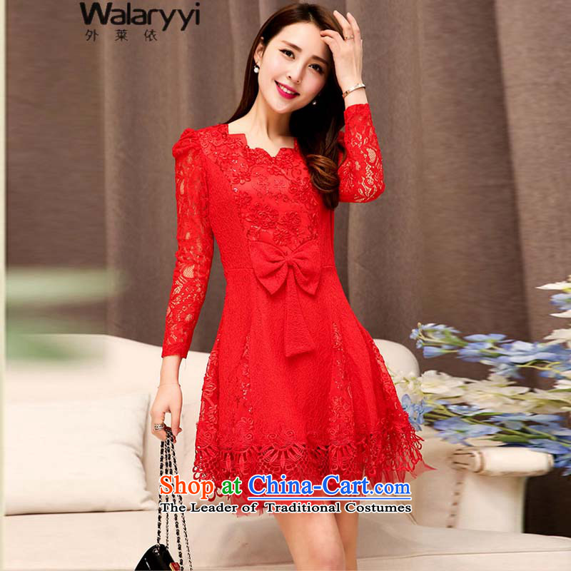 The fall of new, 5203_2015 female solid color graphics in long-sleeved thin long skirt dresses red?XXL
