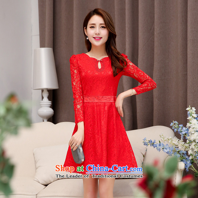 The OSCE to pull the?autumn 2015 a new oufulo of Chinese collar lace hook flower design engraving cuffs minimalist Sau San dress new products bows dress red?L