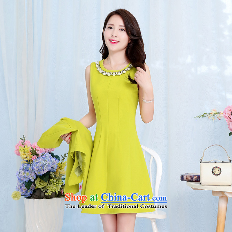 The OSCE to pull?oufulo new_ Autumn 2015 minimalist solid color pearl garden for Sau San dresses shoulder pad solid color jacket stylish new small dress Qiu Xiang?XXXL green