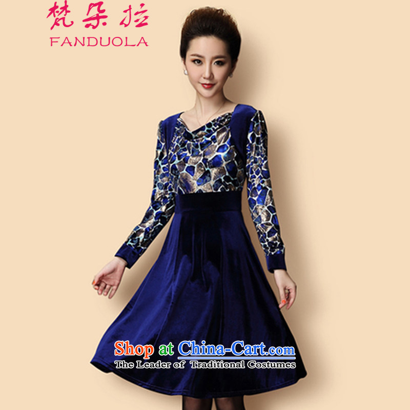 Van Gogh's 2015 autumn and winter in the new mother Kim installed older velvet long-sleeved thick MM Leopard Tipping Load mother dress dark blue L