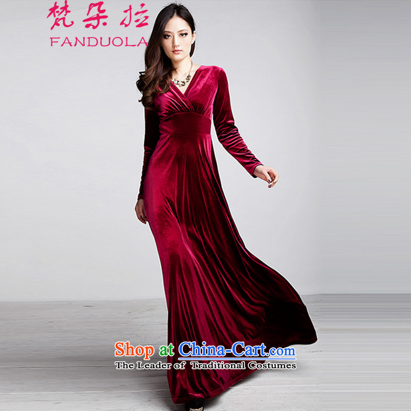 Van Gogh's 2015 autumn and winter large new women's long-sleeved dress Kim velvet Sau San thin large Drag video to skirt dress female dark red?XXL