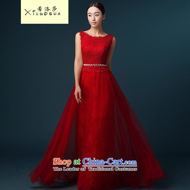 Hillo Lisa _XILUOSHA_ Bride dress lace marriage bows services red banquet evening dress long wedding dresses 2015 new shoulders red聽XL