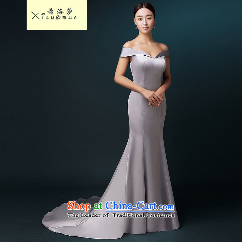 Hillo Lisa _XILUOSHA_ evening dresses long word wedding dress shoulder crowsfoot dress tail bride bows satin dress uniform Gray Autumn 2015聽XXL