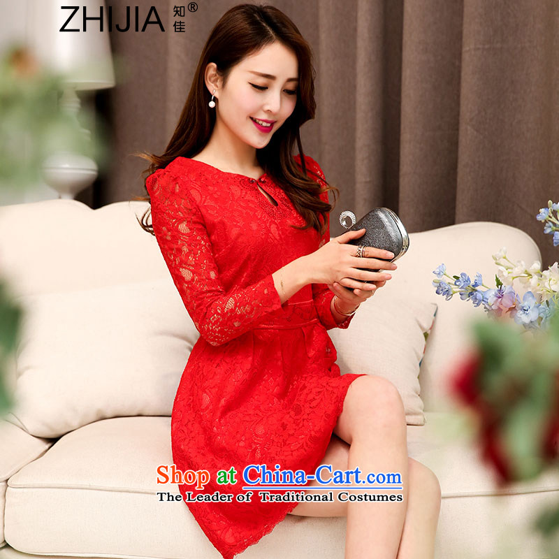 Known Good 2015 new fall inside the trendy lace hook spend long-sleeved engraving qipao collar wedding dresses large decorated in video thin female aristocratic temperament red XL