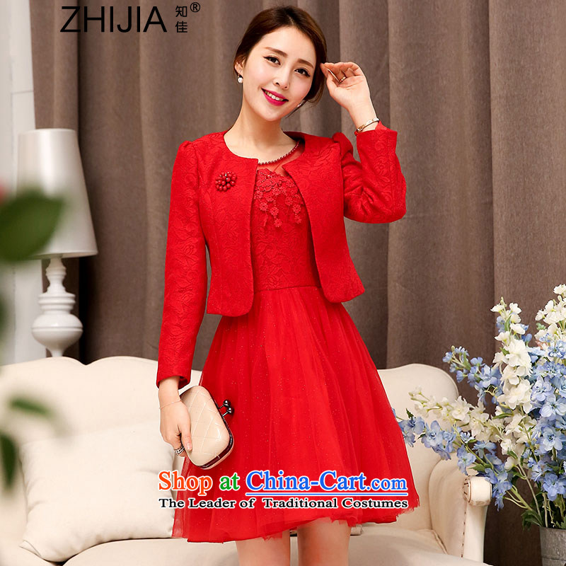 Known Good 2015 Autumn, wedding-dress two kits stylish lace hook flower fluoroscopy half bon bon skirt + long-sleeved jacket round-neck collar Sau San video thin aristocratic temperament RED M