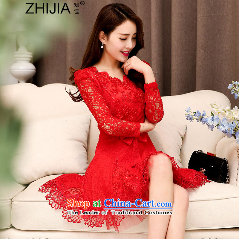 Known Good?2015 new fall inside the trendy lace hook spend engraving ripple for long-sleeved wedding dresses large decorated in video thin female aristocratic temperament RED?M
