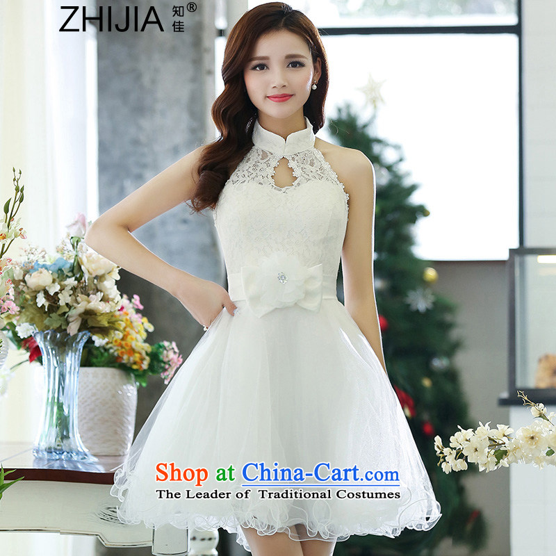 Known Good 2015 new autumn mount must also shoulder straps, leakage princess bon bon short skirts bridesmaid marriage solemnisation evening dresses lace the yarn stitching dress dresses female white S