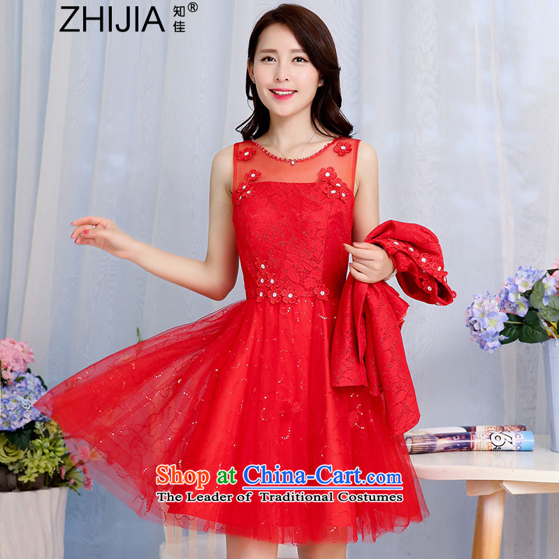 Known Good2015 new boxed stylish fluoroscopy for the autumn on chip bon bon dresses with long-sleeved jacket for larger female wedding-dress aristocratic temperament two kits redXL
