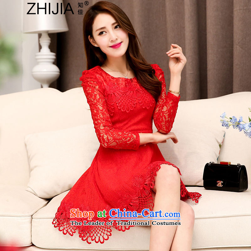 Known Good?2015 new fall inside the trendy lace hook spend long-sleeved engraving round-neck collar wedding dresses large decorated in video thin female red?XL