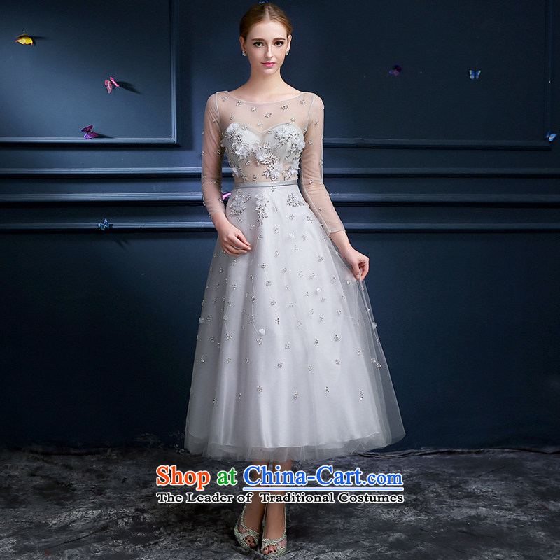 _Heung-lun's health big temperament birthday dress in the skirt cuff sexy fluoroscopy advanced in gray long gown bride services Annual Dinner of toasting champagne evening dresses advanced Gray聽L