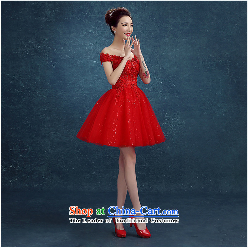 2015 new stylish Red slotted shoulder lace marriage small dress bridesmaid evening dress bride bows service, Red?XL