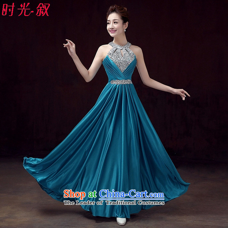 Time the?new 2015 Syria wedding dresses bridal dresses bows to fall on red wall also chip sexy women banquet evening dress evening dress blue?S