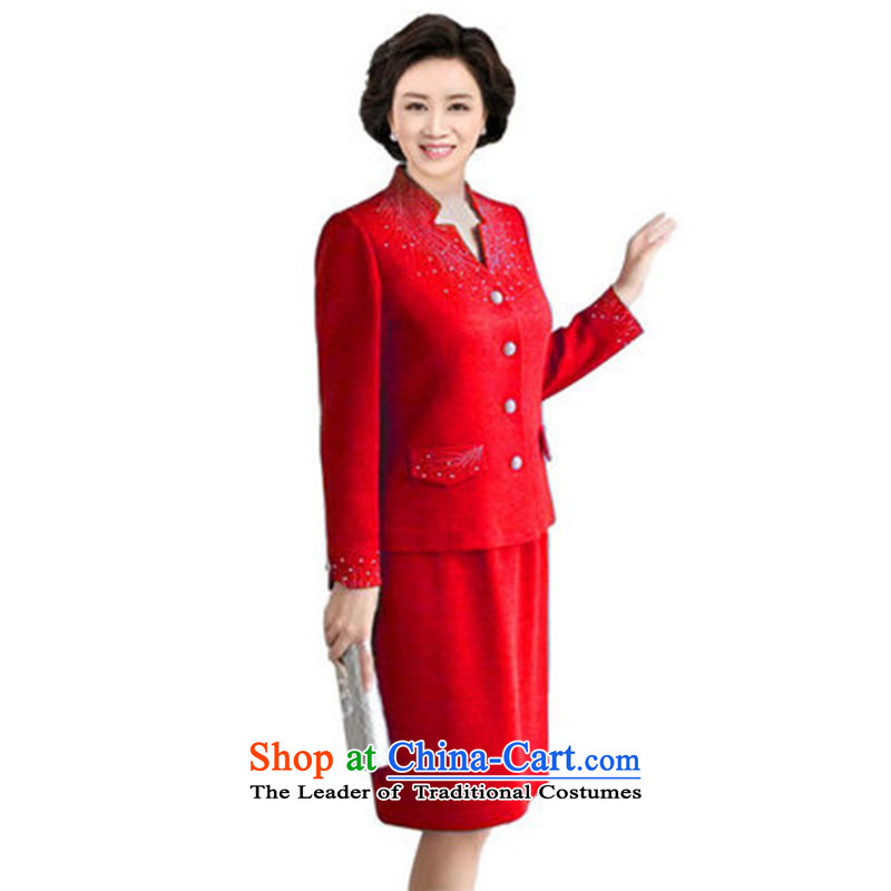 Thick trailing edge of the elderly in the organization of the women's autumn mount kit with large middle-aged 2015 new MOM pack autumn jacket, Red Dress skirt?2XL