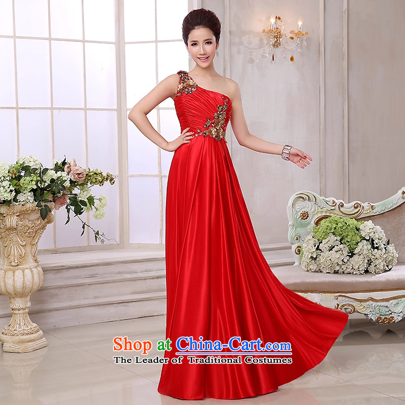 Time Syrian brides fall 2015 evening dress uniform stylish bridesmaid bows services shoulder embroidery hosted a banquet to long gown RED M