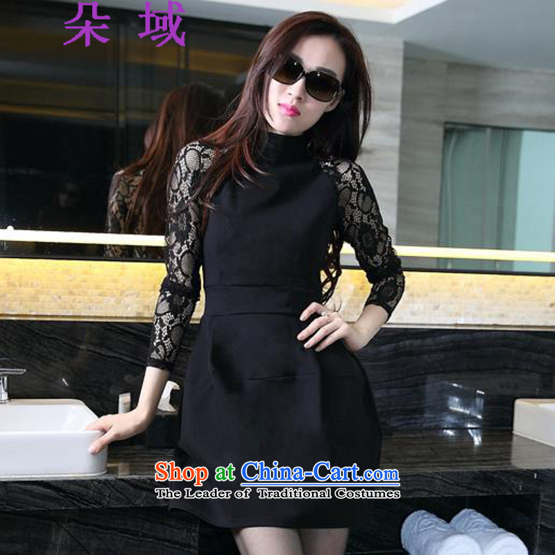 The autumn 2015 Domain flower new lace long-sleeved botanists dress skirt Foutune of Sau San dresses F1A1076C3201 female Black?XL