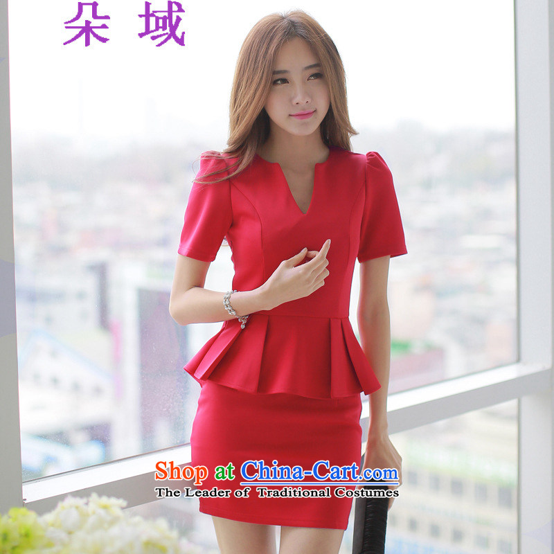 2015 Autumn flower field installed new long-sleeved blouses and Sau San billowy flounces, forming the package and dresses dress skirt D104C8914 RED?M