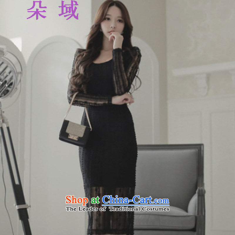 Load the autumn 2015 domain and the new graphics thin lace Sau San small black dress dresses C515C660 black?M