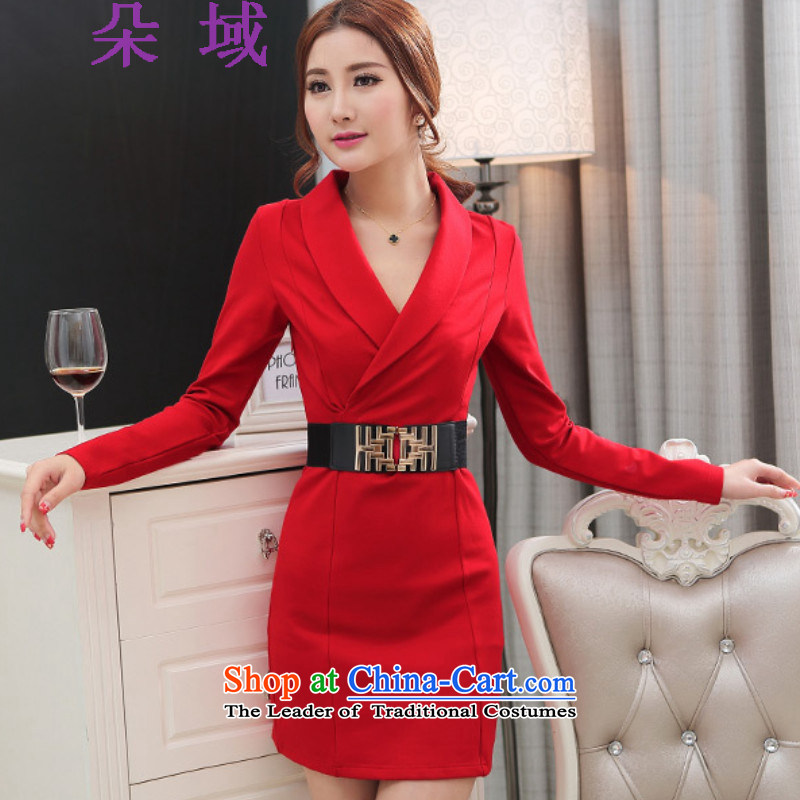 Load the autumn 2015 domain and the new long-sleeved package and dress thick ladies wear dresses D110-2C8705 RED?M
