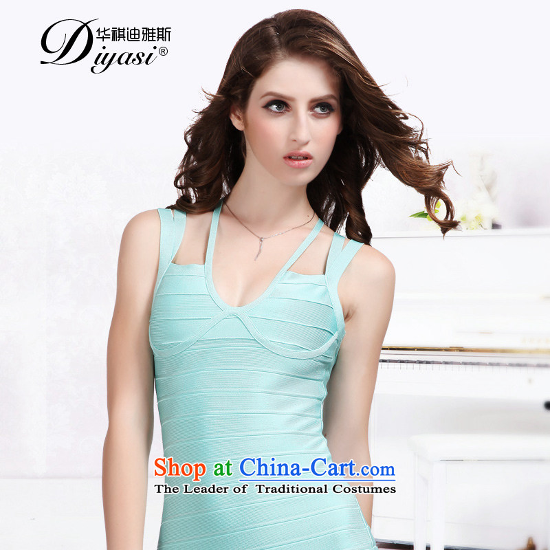 Hua Qi Avandia, spring and summer new strap blue short of small dress sense/V package and bandages skirt light blue�L