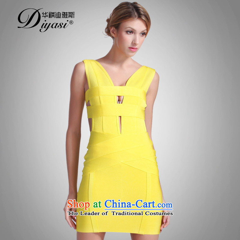 Hua Qi Avandia, sexy back engraving nightclubs and stylish look like package small yellow dress cosmopolitian bandages skirt Yellow�M