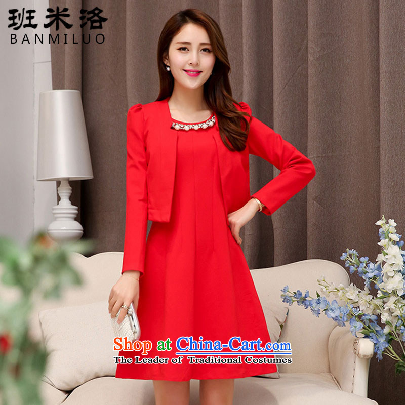 The Taliban Slobodan spring and summer female red wedding long-sleeved clothes to a marriage with bride the lift mast bows small evening dresses dresses red?XXL