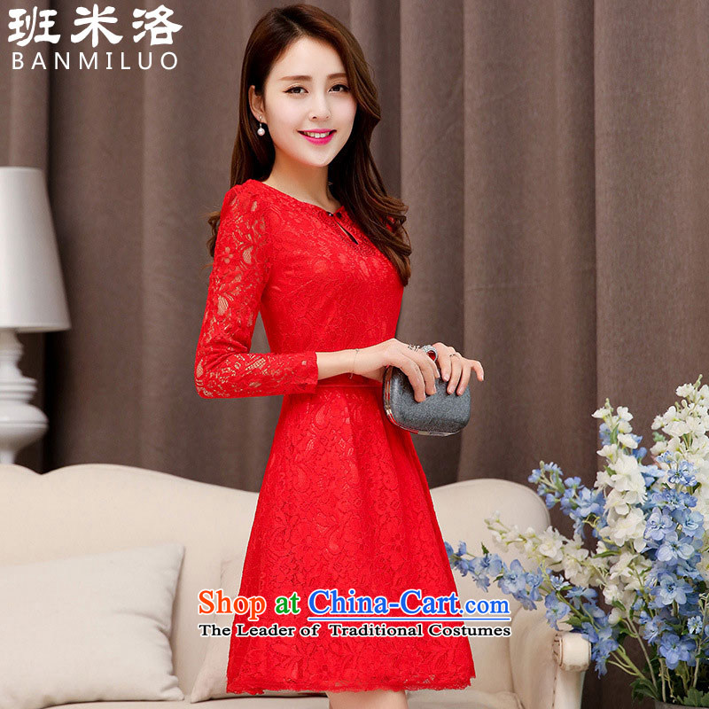 On the?load spring and autumn 2015 Slobodan long-sleeved female lace dresses toasters evening dresses large red bride back to door onto bows service oriented buyers show red return _5?XXL