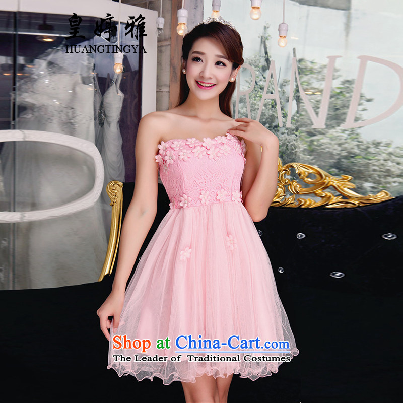 Wong Ting Nga dress dresses fall new bare shoulders lace bridesmaid service of autumn dresses pearl dress for Sau San pink?L