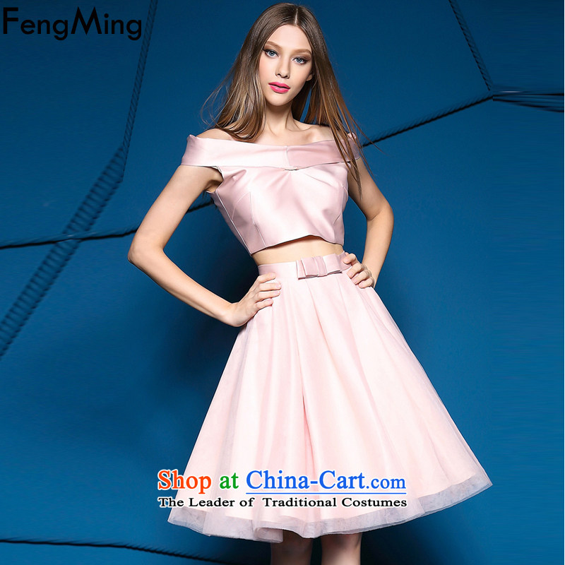 Hsbc Holdings plc Ming�New) Autumn 2015 solid color and sexy bare shoulders a collar short piece + half skirt evening dress aristocratic stylish package pink two kits�M