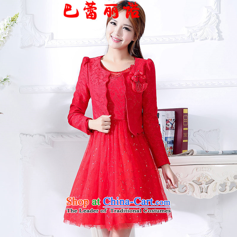 The buds of 2015 autumn and winter, new lace stitching Mesh on red bride long-sleeved bows serving two kits bridesmaid dresses dress RED�M