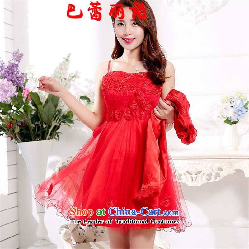 The buds of 2015 autumn and winter, New floral decorations straps gauze bon bon skirt wedding dress + short, lace small coat two kits dresses bows dress red XL