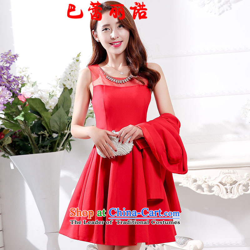 The buds of 2015 autumn and winter, new gauze fluoroscopy sleeveless red bride dress + long-sleeved jacket two kits dresses bows dress RED�M